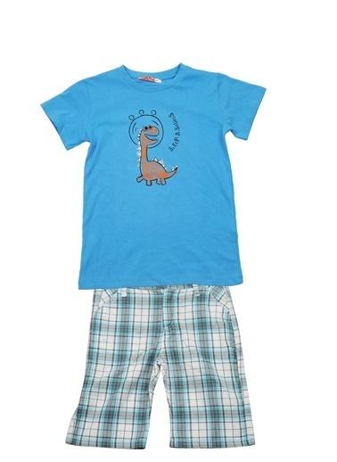 Zeyland Mavi Dinazor T-Shirt ve Ekose şort Takım (9ay-7yaş) Mavi Dinazor T-Shirt ve Ekose şort Takım (9ay-7yaş) Mavi
